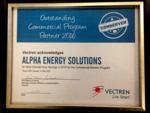 2016 Vectren Commercial Rebate Program Award